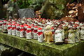 Japanese miniature buddhia statues buddhist templ temple and detail pilgrimage site shikoku island japan Royalty Free Stock Photography