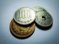 Japanese money, silver coin, yen Royalty Free Stock Photo