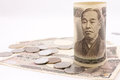 Japanese money on the white background Stock Photography