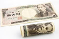 Japanese money on the white background Stock Images