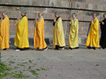 Japanese monks and nuns perform Buddhist rituals Royalty Free Stock Images