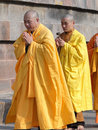 Japanese monks perform Buddhist rituals Stock Photos