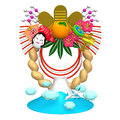Japanese new year decoration and mountain d render illustration isolated on white Royalty Free Stock Image