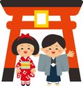 Japanese new year elements.Torii gate and kids wearing kimonos.The first shrine visit of the new year.Flat design.