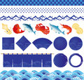 Japanese ocean wave icons and fish illustrations.