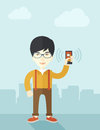 Japanese Office worker and his smartphone Royalty Free Stock Photo