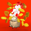 Japanese Old Coins And Sheep On Red Background Royalty Free Stock Photo