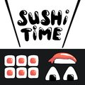 Sushi time cartoon banner template with lettering