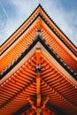 Japanese Pagoda in Kyoto, Japan detail photography Royalty Free Stock Photo
