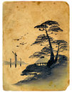 Japanese painting. Old postcard. Royalty Free Stock Images