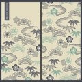Japanese set with vector cards and seamless vector pattern with traditional japanese paintings of clouds and leafs Royalty Free Stock Photo