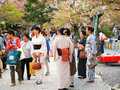 Japanese people dress kimono to enjoy cherry blossom unidentified hanami of party on april at arashiyama kyoto outskirt japan here Royalty Free Stock Photo