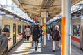 Japanese people transit interchange local line from Train to Train in Kobe Line for Sannomiya & Himeji station. Royalty Free Stock Photo
