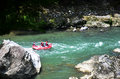 Japanese people and traveler foreigner tour rafting by inflatabl Royalty Free Stock Photo