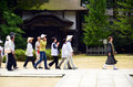 Japanese pilgrims koya japan june group of entering kongobuji temple the head temple of shingon school Royalty Free Stock Photo