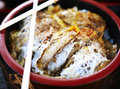 Japanese pork chop don style deep fried with eggs Royalty Free Stock Images