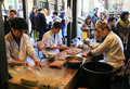 Japanese preparing fresh eel for cooking at the restaurant in to tokyo japan march tokyo Stock Photos