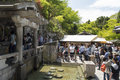 Japanese purification people taking water from fountain for spiritual in kiyomizudera temple kyoto Stock Image
