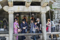 Japanese purification young people taking water from fountain for spiritual in kiyomizudera temple kyoto Royalty Free Stock Images