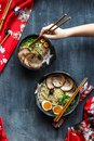 Japanese ramen soup with pork, egg and chives Royalty Free Stock Photo