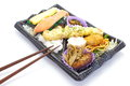 Japanese ready made lunchbox bento on white background Royalty Free Stock Photos