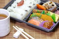 Japanese ready made lunchbox bento on white background Royalty Free Stock Image