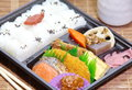 Japanese ready made lunchbox bento on white background Stock Photo