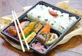 Japanese ready made lunchbox bento on white background Stock Photography