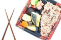 Japanese ready made lunchbox bento on white background Royalty Free Stock Images