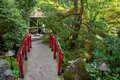 Japanese red bridge at Butchart Gardens, Victoria, Canada Royalty Free Stock Photo