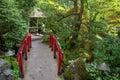 Japanese red bridge at Butchart Gardens, Victoria, Canada Royalty Free Stock Photo