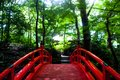 Japanese red bridge in Tokyo Royalty Free Stock Photo