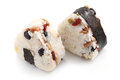 Japanese rice ball balls onigiri on white background Royalty Free Stock Photos