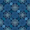 Japanese Sakura flower icon circle seamless pattern