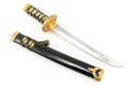 Japanese samurai katana sword isolated on white Royalty Free Stock Photography