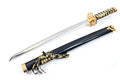 Japanese samurai katana sword isolated on white Royalty Free Stock Image