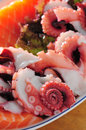 Japanese seafood sashimi octopus salmon Royalty Free Stock Image
