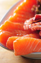 Japanese seafood sashimi salmon octopus Stock Photo