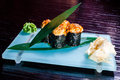 Japanese seafood sushi roll and chopstick Royalty Free Stock Photography