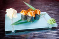 Japanese seafood sushi roll and chopstick Royalty Free Stock Photo