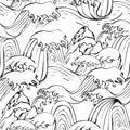 Japanese seamless graphic waves pattern