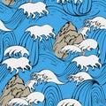 Japanese seamless waves pattern in ocean
