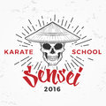Japanese sensei skull Logo. Samurai master insignia design. Vintage ninja mascot badge. Martial art Team t-shirt Royalty Free Stock Photo