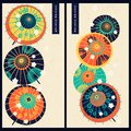 Japanese set with two cards with colorful vintage japanese traditional umbrellas. design for gift, print, business, card