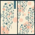 Japanese set with vector cards and seamless vector pattern with traditional japanese ornaments and flowers Royalty Free Stock Photo