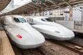 Japanese shinkansen bullet train at tokyo station platform japan Stock Photos