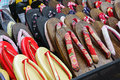 Japanese slippers stand different style of on a market this picture was taken in osaka japan photo taken on april Royalty Free Stock Photography