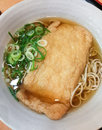 Japanese Soba noodle ramen with fried tofu Royalty Free Stock Photo