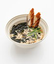 Japanese soup plate with the eel seaweed and cream on a white background Stock Photos