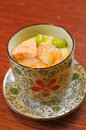 Japanese steamed egg custard seafood shrimp Royalty Free Stock Image